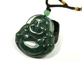 Free Shipping - good luck Natural Oily Green Laughing Buddha  Jadeite Jade charm - $20.00