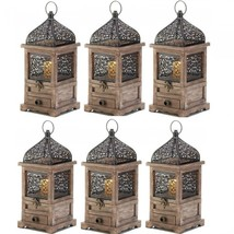 Lot 6 Large Lantern Wood Candle Holder Wedding Centerpieces with Drawer - $96.03