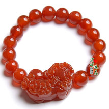 Free Shipping - '' good luck '' Hand carved natural RED agate / Carnelian '' PI  - $26.99