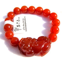 Free Shipping - '' good luck '' Hand carved natural RED agate / Carnelian '' PI  image 2