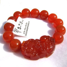 Free Shipping - '' good luck '' Hand carved natural RED agate / Carnelian '' PI  image 3