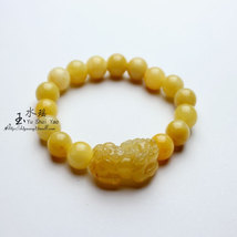 Free Shipping -  good luck Natural yellow agate  '' PI YAO'' Prayer Beads charm  - $30.00