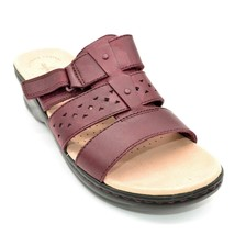 Clarks Womens Lexi Juno Leather Slide Sandals Sz 9.5W Burgundy New - $39.59