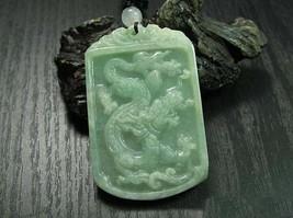 Free Shipping - PERFECT Natural Green jadeite jade Carving Dragon  Amulet Pendan - $29.99