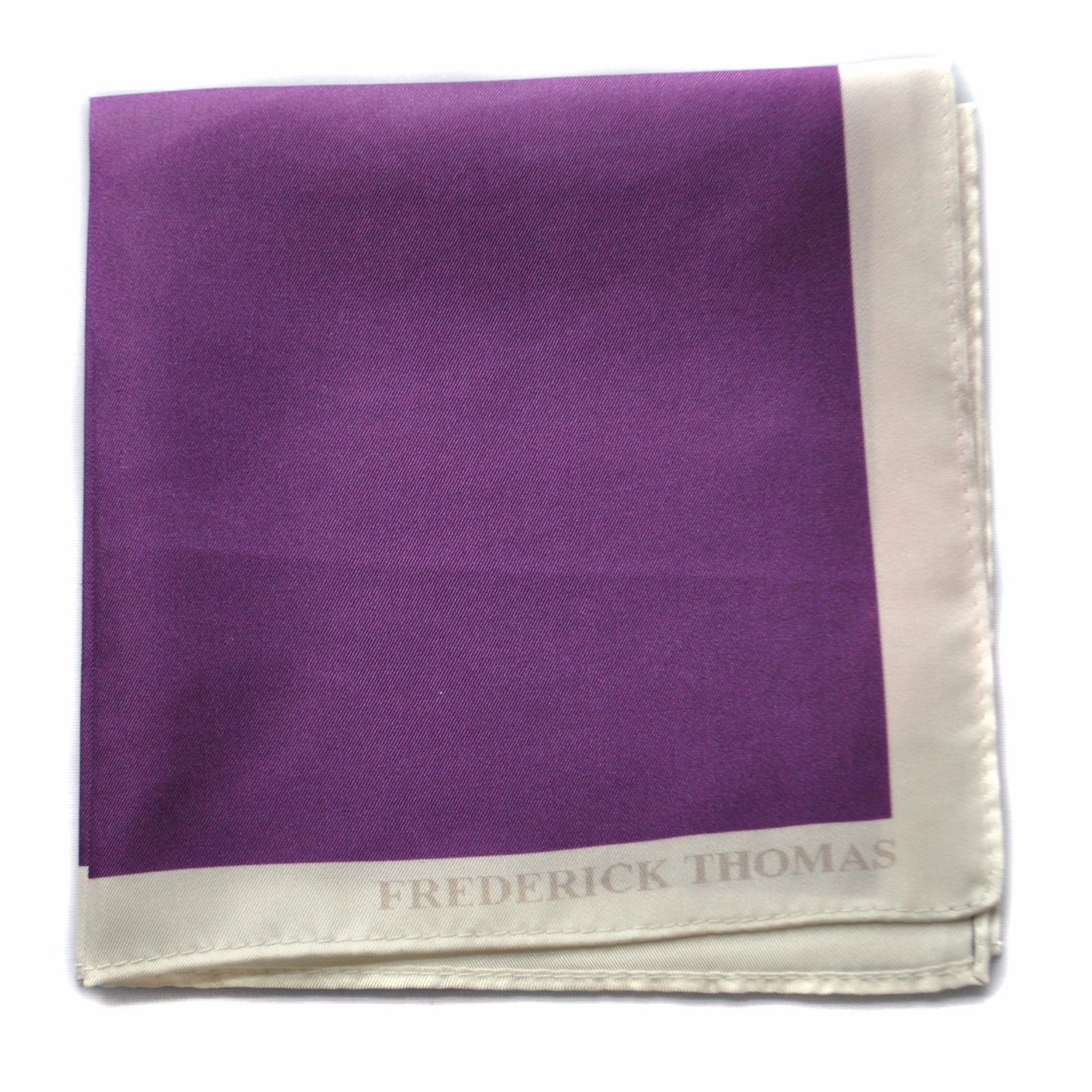 Frederick Thomas 100% silk cadbury purple pocket square handkerchief FT1660