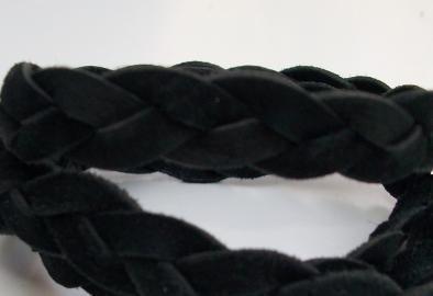 Braided Suede Bracelet, Story by Kranz & Ziegler, 3 Wrap, Blk, Retired