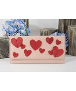 Kate Spade Warm Vellum Heart it Harling Leather Red Pink Clutch Flap Wal... - $104.76