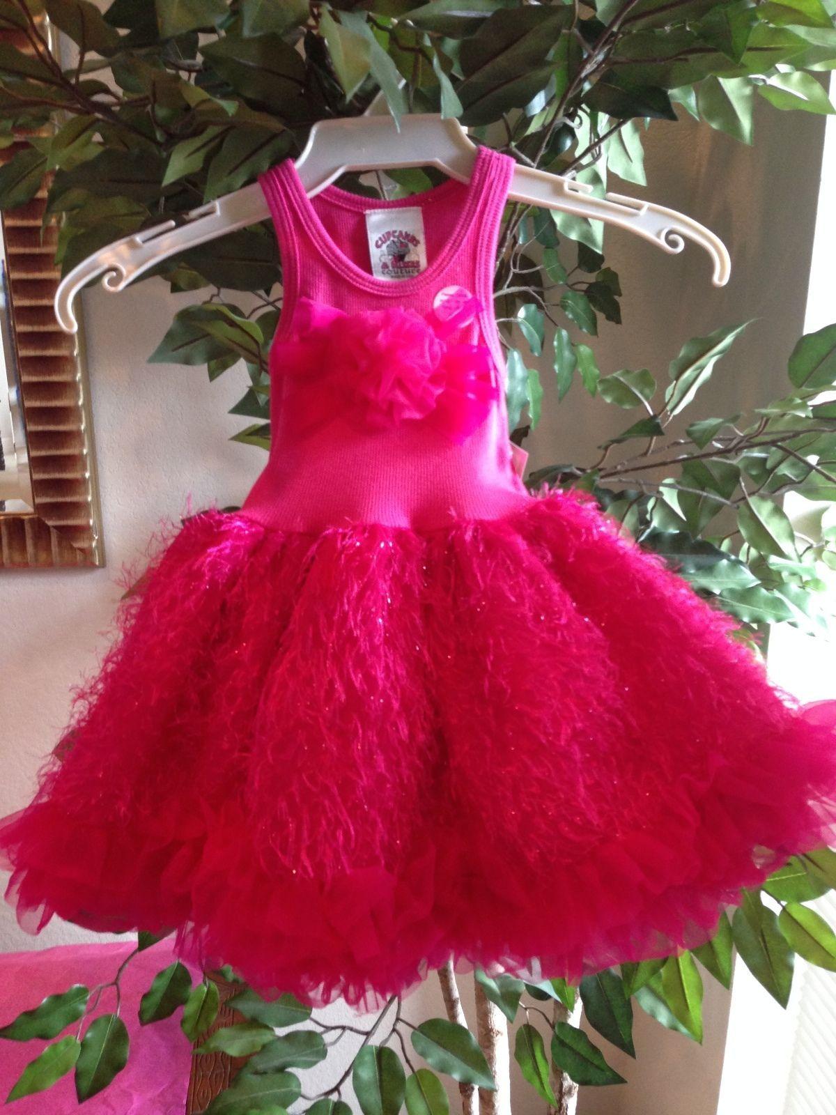 Posh Sparkly Fuchsia Eyelash Chiffon Pink Tutu Dress, 6M-5/6 USA Cupcakes Kisses