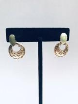 Celadon Green Enamel Door Knocker Gold Tone Post Earrings K918 - $14.24