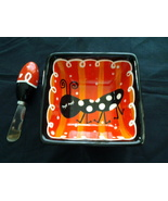 "Bowl Square 5.25"" Diam 2.5"" Tall, Black, Red and White W Ant & Spreading knife~ - $4.99"