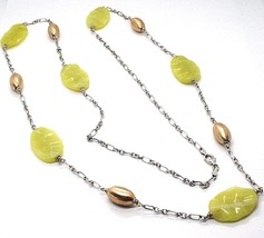 Necklace Silver 925, Ovals Pink, Jasper Green Wavy, Length 105 CM - $244.15