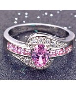 Pink Ice Cocktail Wedding Engagement Promise Swirl Ring White Gold Fille... - $18.00