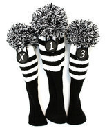 Retro Golf Headcover Black White Stripe Sock 3 piece Set Club Head Wood ... - $34.85