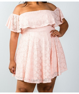 Plus size lace overlay off the shoulder flounce dress - $21.99