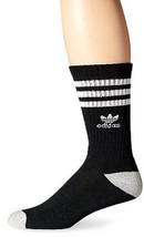 adidas Mens Originals Crew Socks, One Size, Black/White/Heather Aluminum - $12.11