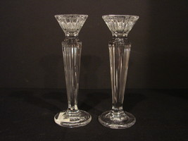 """Pair of Marquis by Waterford 6 Inch """"Festivale"""" Candleholders Mint Condi... - $9.99"""