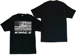 Los Angeles Kings With US Flag Image Men's Black T-Shirt - $20.78+