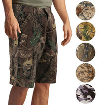 Men's Cotton Multi Pocket Relaxed Fit Outdoor Army Nature Camo Cargo Shorts