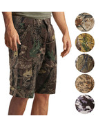 Men's Cotton Multi Pocket Relaxed Fit Outdoor Army Nature Camo Cargo Shorts - $27.99