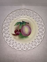 """Lefton Lace Edged Hand Painted Fruit Plate With Plum And Cherries 8"""" - $15.00"""