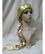 Fancy Child Rapunzel Wig Long Braid w/ Flower Trim Fairytale Princess Ta... - $16.95