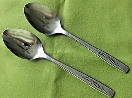 "Oneida Custom Stainless 2 Soup Spoons Autumn Memory 6.5""  Textured Handl... - $5.20"