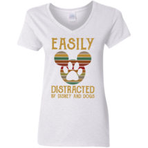 Easily Distracted By Disney And Dogs G500VL White Ladies V-Neck T-Shirt - $24.00+