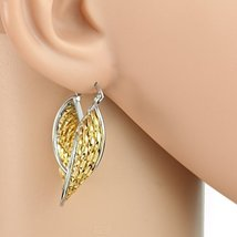 Trendy Twisted Gold & Silver Tone (Two Tone) Hoop Earrings- United Elegance - $16.99