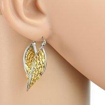 Trendy Twisted Gold & Silver Tone (Two Tone) Hoop Earrings- United Elegance - $17.99