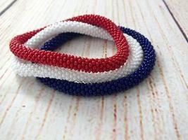 Set Of Rolling Beaded Bracelets Patriotic 4th of July USA Bangle Wristband  - $17.00+