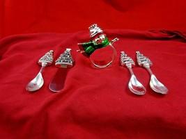 Silverplate Snowman Napkin Ring & 3 Christmas Tree Spoons & Spreader  (#... - $29.00