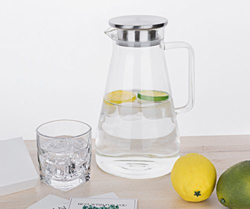 Purefold 68 Ounces Glass Pitcher with Lid, Hot/Cold Water Carafe with Handle, Ho