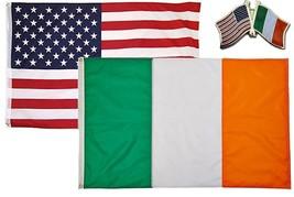 Wholesale Combo USA & Ireland Country 2x3 2'x3' Flag & Friendship Lapel Pin - $13.88