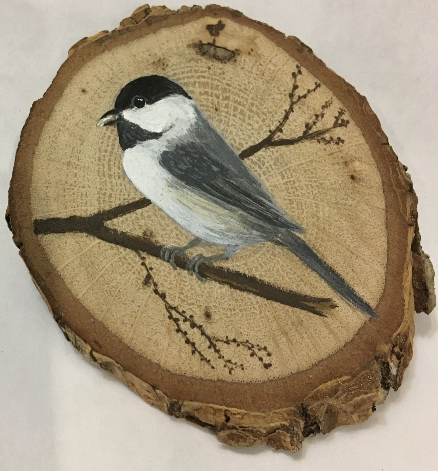 Primary image for Chickadee wood slice magnet made-to-order