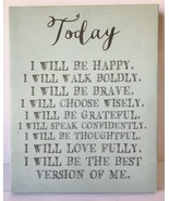 Louise Carey Today I Will Be Happy Stretched Canvas Wall Art Affirmation... - $14.50