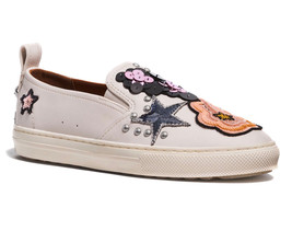Coach Women's Slip On Embroidered Skate Shoes Sneakers C115 Sequin Star Chalk
