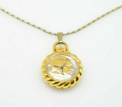 Buffalo Nickel Watch Pendant Gold Tone Necklace Vintage Not Working - $19.79