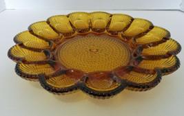 Indiana Glass Vintage Amber Devil Egg Dish Platter Hobnail 15 Egg Dish - $19.68