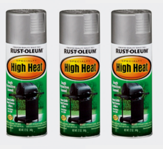 3~ RUST-OLEUM High Heat Spray Paint BBQ Silver Stops Rust Stoves Grills ... - $29.99