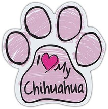 Pink Scribble Paws: I Love My Chihuahua | Dog Paw Shaped Car Magnets - $6.99