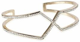 Chloe + Theodora 14K Gold Plated Geometric Cubic Zirconia Crystal Cuff Bracelet
