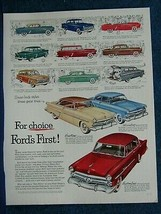 1952 Ford Car Ad Print ~ 12 Colorful Models and Styles Shown - Ideal For... - $8.06