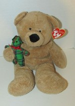2005 Ty Pluffies tan Bear Beary Merry plush holding green plaid teddy B... - $10.68