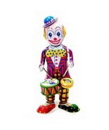 TIN TOY DRUMMING CLOWN Wind Up Drum Collectible Vintage Style Circus Rob... - $26.95