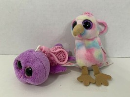 Ty Beanie Boos lot 2 clips keychain ring mini plush Kiwi bird Slowpoke t... - $9.89
