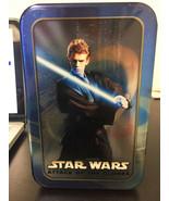 Disney STAR WARS Luke Skywalker Tin Storage Box With Vintage Cards Colle... - $19.79