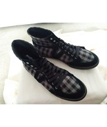 women's Vans black / grey checkered style high top fashion sneakers size 11 - $28.04