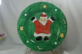 "Gibson Festive Green Santa Round Platter/Chop Plate 14"" - $17.32"
