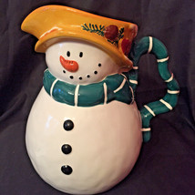 "Pfaltzgraff Holiday Magic Snowman Pitcher with Box 9"" Tall Christmas Table Decor - $13.99"