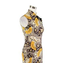 Midnight blue yellow paisley sleeveless vintage maxi dress S image 4